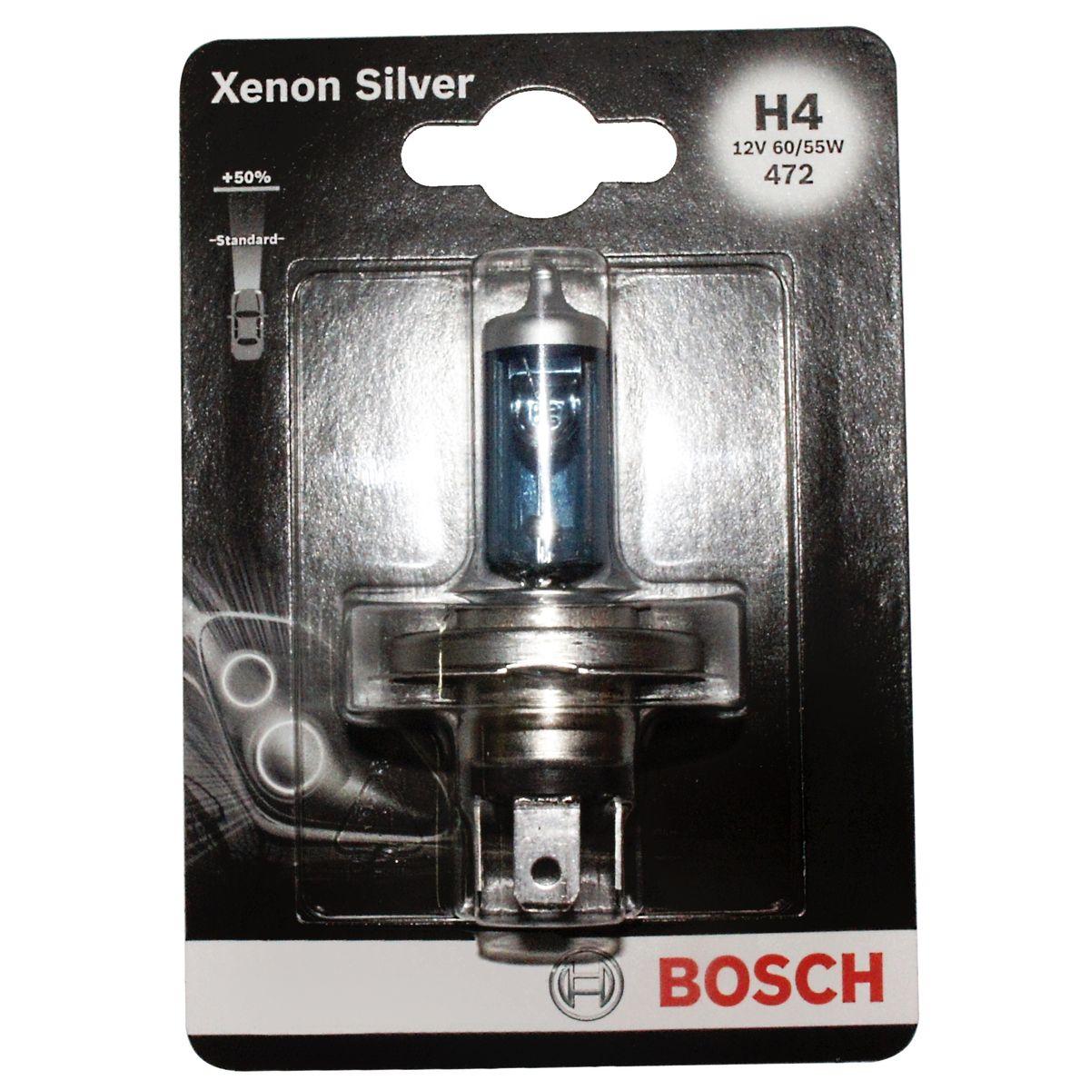 Лампа Bosch Xenon Silver H4 19873010681987301068Новые лампы Bosch для галогенных фар освещают дорогу интенсивным белым светом, который очень близок по свойствам к дневному освещению.Благодаря этому глаза водителя не теряют фокусировки и меньше устают даже во время долгих поездок в темное время суток. Новые лампы отличаются высокой яркостью и могут давать до 50% больше света, чем стандартные галогенные фары. Лампы Bosch доступны в вариантах H1, H4 и H7. Серебряное покрытие ламп H4 и H7 делает их едва заметными за стеклами выключенных фар. Новые лампы выглядят наиболее эффектно в сочетании с фарами из прозрачного стекла и подчеркивают современный дизайн автомобилей. Увеличенная яркость и дальность освещения положительно сказывается на безопасности движения. В темное время суток или в сложных погодных условиях, таких как ливень или густой туман, водитель замечает опасную ситуацию намного раньше и на большем расстоянии, при этом лучше заметен и сам автомобиль с фарами Bosch. Напряжение: 12 вольт
