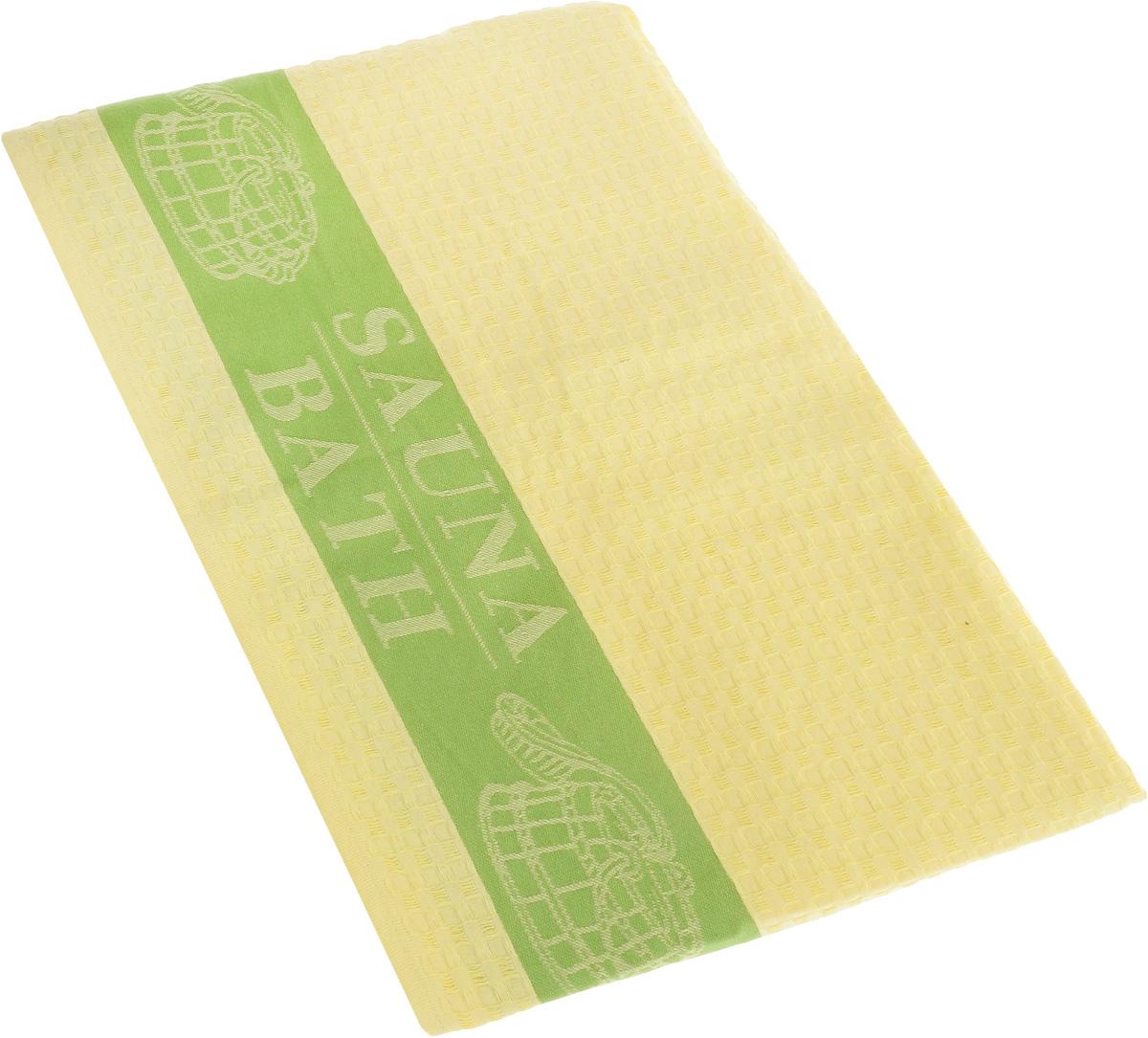 Полотенце Soavita Сауна, цвет: желтый, зеленый, 100 х 160 см48793Полотенце Soavita Сауна выполнено из 100% хлопка. Изделие отлично впитывает влагу, быстро сохнет, сохраняет яркость цвета и не теряет форму даже после многократных стирок. Полотенце очень практично и неприхотливо в уходе. Оно создаст прекрасное настроение и украсит интерьер в ванной комнате.