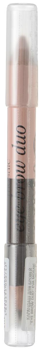 Eva Mosaic Двусторонний карандаш для бровей + хайлайтер Eye Brow Duo, 2,3 г28420_красныйДвойной карандаш для бровей моделирует их форму и придает взгляду выразительность. Используйте темный тон для придания желаемой формы бровям, а светлый - чтобы подчеркнуть их изгиб - нанесите под бровью и растушуйте. - точное нанесение - высокая стойкость - специально подобранные воски и смягчающие компоненты - универсальная комбинация цветов