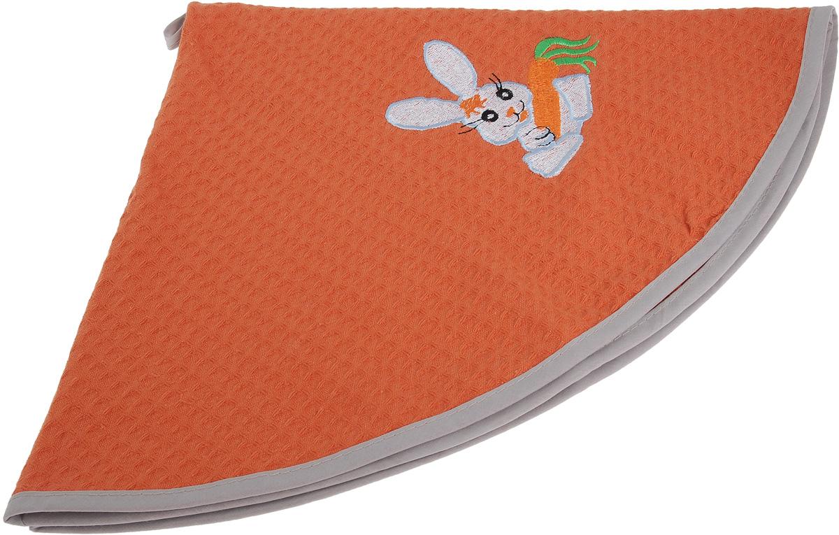 Полотенце кухонное Soavita, цвет: коралловый, диаметр 65 см. 4880048800Кухонное полотенце Soavita, выполненное из 100% хлопка, оформлено вышитым рисунком в виде забавного зайчика с морковкой. Изделие предназначено для использования на кухне и в столовой. Имеется петелька для подвешивания. Такое полотенце станет отличным вариантом для практичной и современной хозяйки.