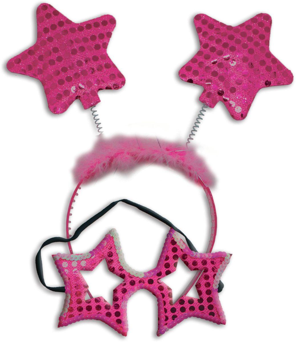 Partymania Карнавальный набор Маска и ободок со звездочками цвет ярко-розовый