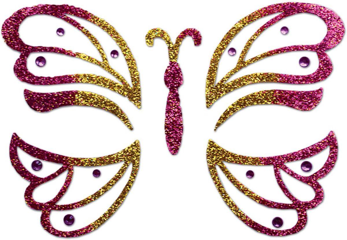 Partymania Украшение-стикер для лица Карнавал Бабочка цвет розовый