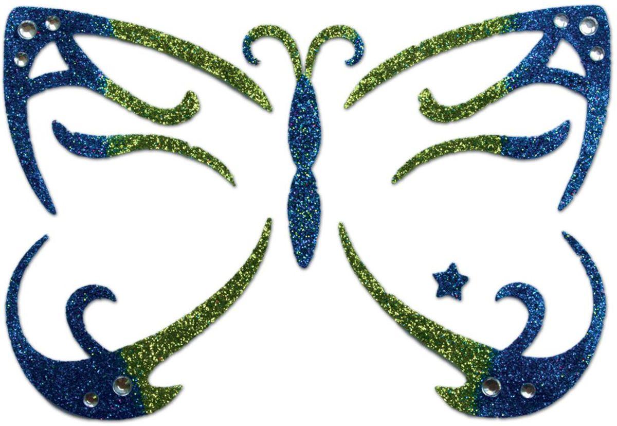 Partymania Украшение-стикер для лица Карнавал Бабочка цвет синий