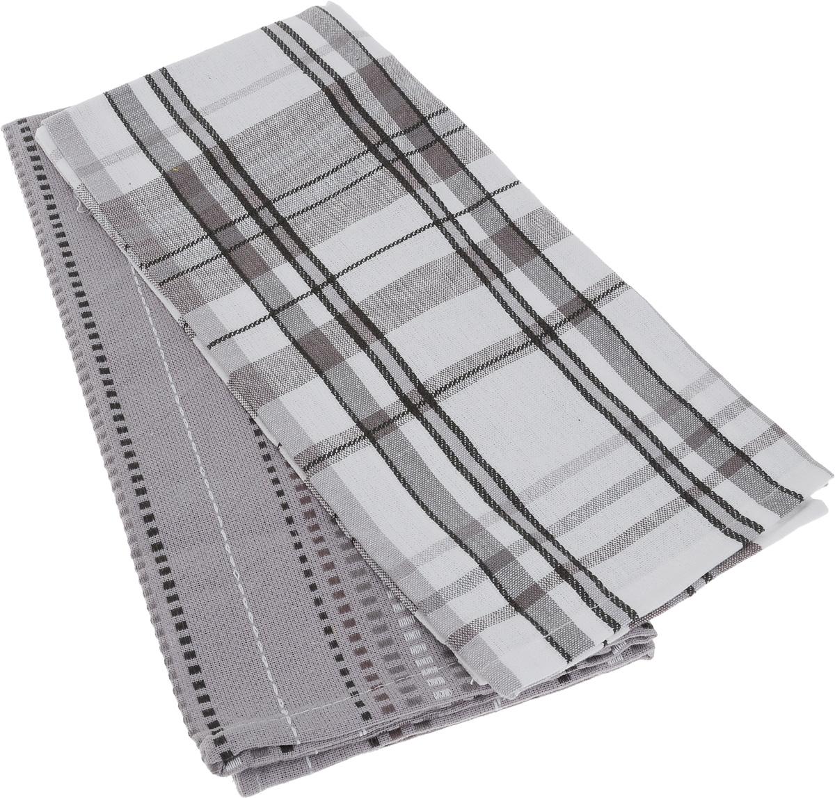 Набор кухонных полотенец Soavita Strip, цвет: черный, белый, серый, 48 х 68 см, 2 шт65795Набор Soavita Strip состоит из двух полотенец, выполненных из 100% хлопка. Изделия предназначены для использования на кухне и в столовой. Набор полотенец Soavita Strip - отличное приобретение для каждой хозяйки. Комплектация: 2 шт.