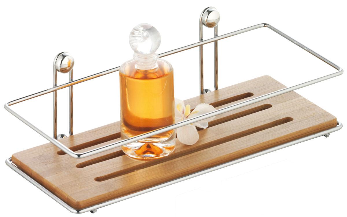 Полка для ванной Axentia Bonja, одноярусная, 26,5 х 8,5 х 11,3 см282090Полка для ванной Axentia Bonja изготовлена из натурального экологически чистого бамбука, устойчивого к повышенной влажности. Изделие оснащено каркасом из хромированной стали. Данное изделие изящно дополнит интерьер вашей ванной комнаты. Размер полки: 26,5 х 8,5 х 11,3 см