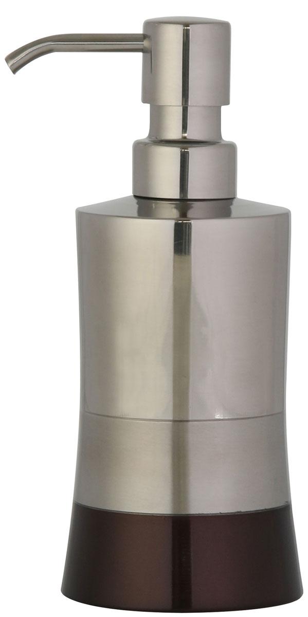 Дозатор для жидкого мыла Axentia Lucca, цвет: серебристый, бронзовый122365Изготовлен из нержавеющей стали, долговечный материал, не боится влажности и механического воздействия. Обработан тремя способами: глянцевая и матовая полировка и бронзовое покрытие. Отлично сочетается с другими аксессуарами из коллекции Lucca.