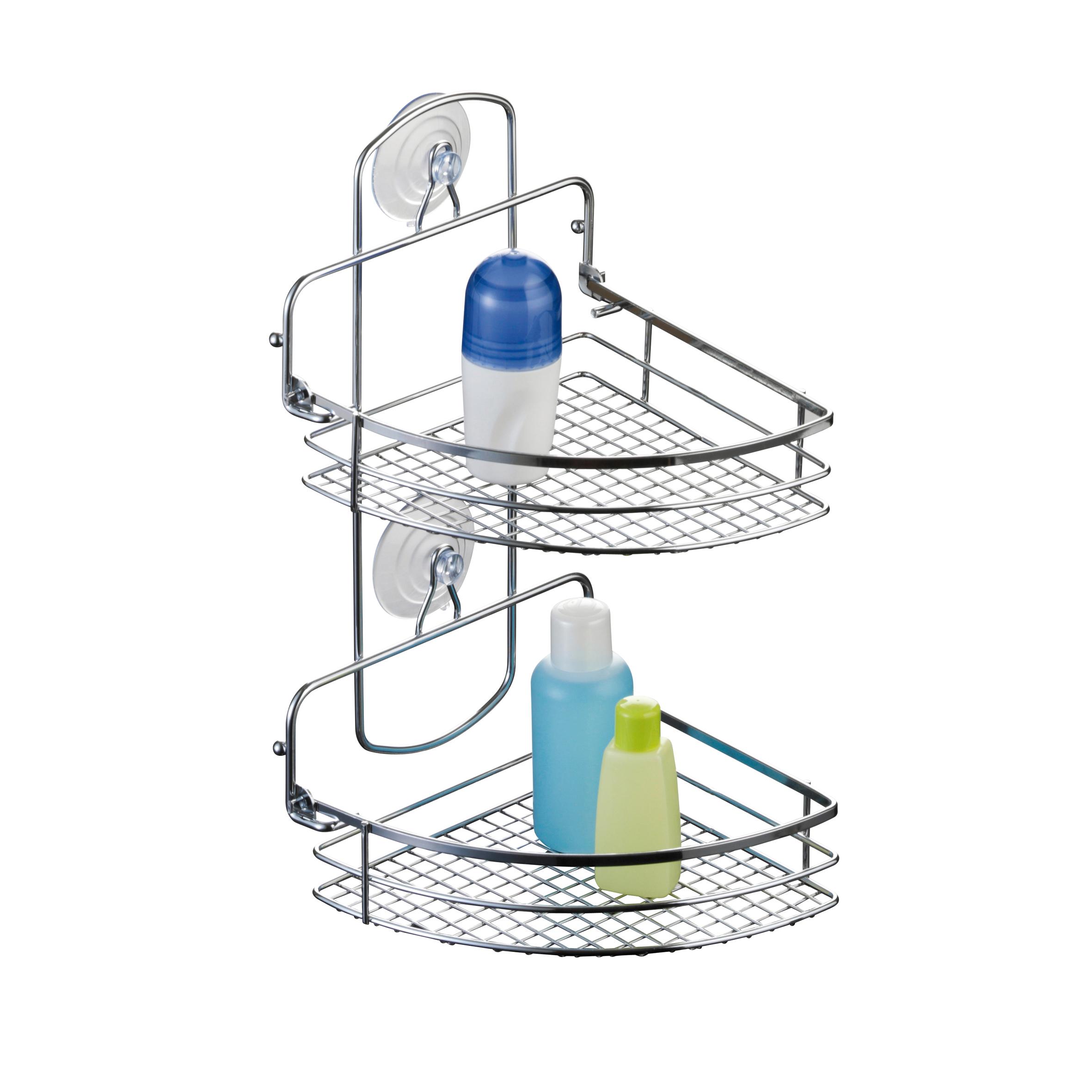 Полка для ванной Axentia Cassandra, угловая, двухъярусная, 20 х 27 х 37 см280870Двухъярусная полка для ванной Axentia Cassandra изготовлена из стали с качественным хромированным покрытием, которое на долго защитит изделие от ржавчины в условиях высокой влажности в ванной комнате. Изделие имеет угловую конструкцию и два вида крепления: на присосках или на шурупах (входят в комплект). Классический дизайн и оптимальная вместимость подойдет для любого интерьера ванной комнаты или кухни. Размер полки: 29,5 х 11 х 46 см.