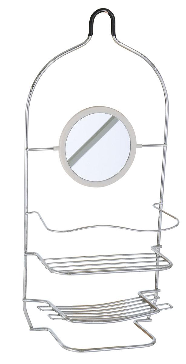 Полка для ванной Axentia, прямая, двухъярусная, с зеркалом и полотенцедержателем, цвет: хром, 20,5 х 10,7 х 45,5 см122450Полка для ванной комнаты прямая двух ярусная с зеркалом и полотенцедержателем. Изготовлена из стали с качественным хромированным покрытием, которое на долго защитит изделие от ржавчины в условиях высокой влажности в ванной комнате.