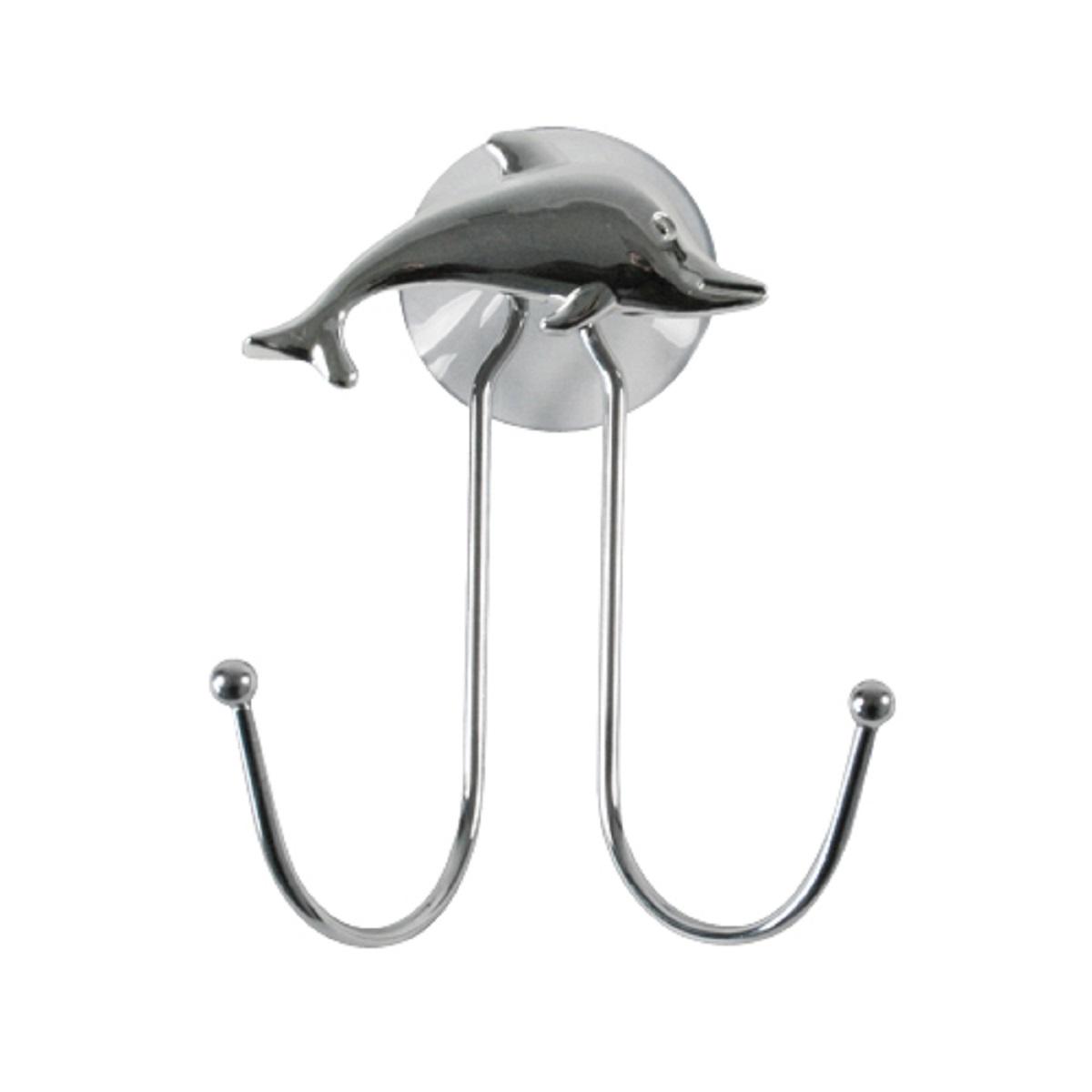 Крючок Top Star Silver Dolphin, двойной, на присоске, цвет: хром80653Крючок двойной настенный на присоске с декором серебристый дельфин. Подходит для полотенец, мочалок, халатов и других ванных принадлежностей. Крепится на присоску, в комплекте. Выдерживает вес до 2-х килограмм на гладкой, воздухонепроницаемой, очищенной и обезжиренной поверхности. Крючок изготовлен из высококачественной хромированной стали, устойчивой к высокой влажности. Отлично сочетается с другими аксессуарами из коллекции Silver Dolphin.