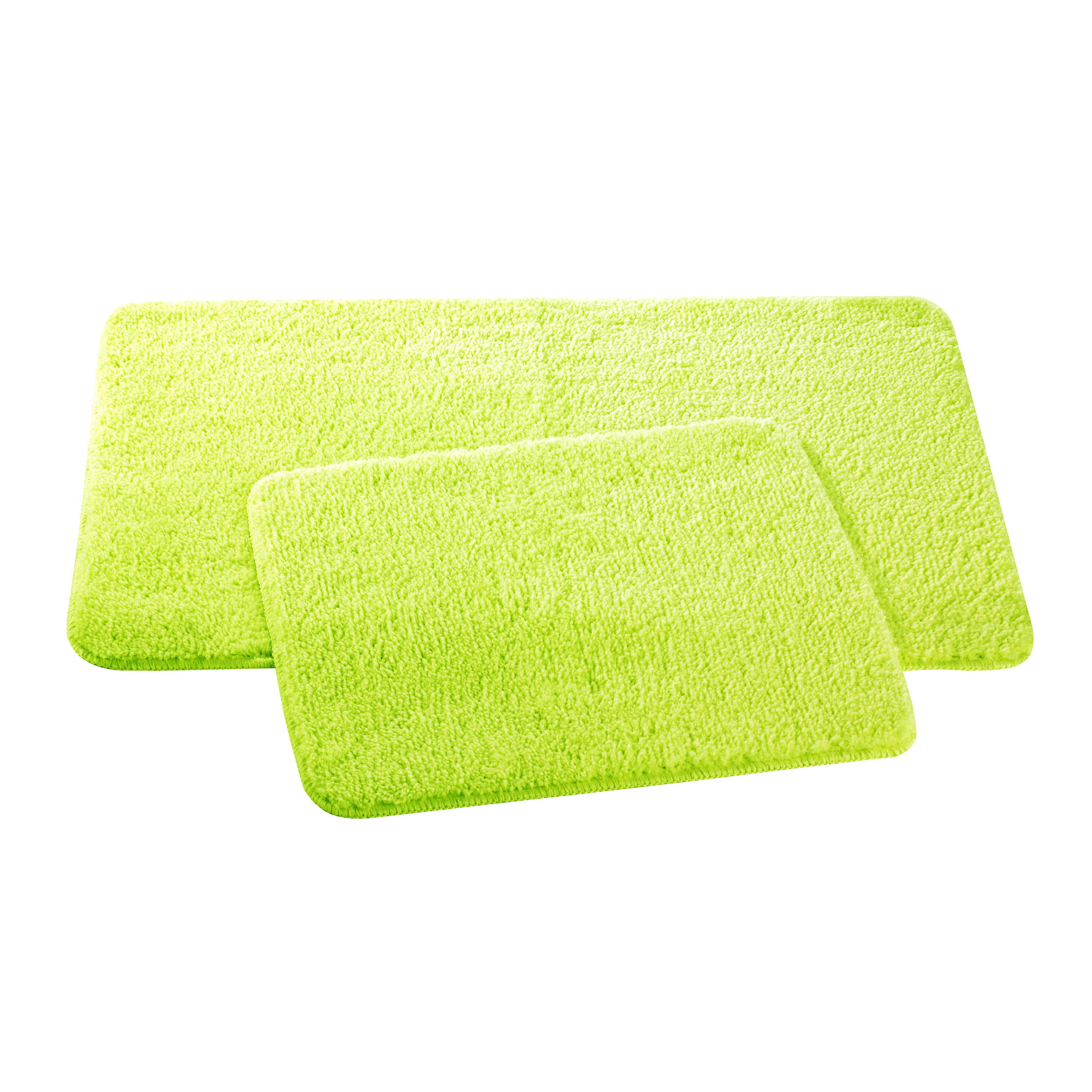 Набор ковриков для ванной и туалета Axentia, цвет: мятный, 2 шт116139Набор Axentia, выполненный из микрофибры (100% полиэстер), состоит из двух стеганых ковриков для ванной комнаты и туалета. Противоскользящее основание изготовлено из термопластичной резины и подходит для полов с подогревом. Коврики мягкие и приятные на ощупь, отлично впитывают влагу и быстро сохнут. Высокая износостойкость ковриков и стойкость цвета позволит вам наслаждаться покупкой долгие годы. Можно стирать в стиральной машине. Размер ковриков: 50 х 80 см; 50 х 40 см. Высота ворса 1,5 см.