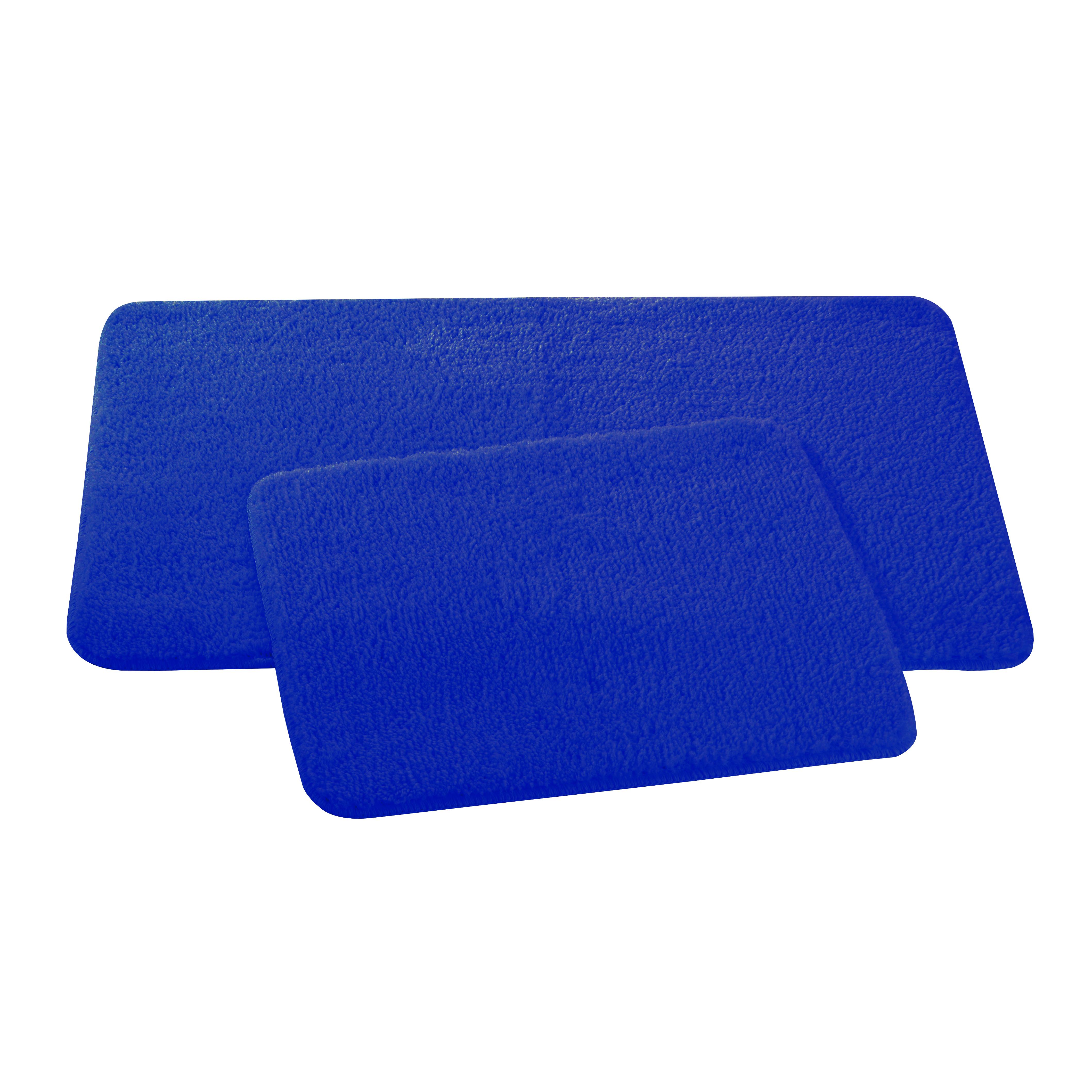 Набор ковриков для ванной и туалета Axentia, цвет: синий, 2 шт116133Набор Axentia, выполненный из микрофибры (100% полиэстер), состоит из двух стеганых ковриков для ванной комнаты и туалета. Противоскользящее основание изготовлено из термопластичной резины и подходит для полов с подогревом. Коврики мягкие и приятные на ощупь, отлично впитывают влагу и быстро сохнут. Высокая износостойкость ковриков и стойкость цвета позволит вам наслаждаться покупкой долгие годы. Можно стирать в стиральной машине. Размер ковриков: 50 х 80 см; 50 х 40 см. Высота ворса 1,5 см.