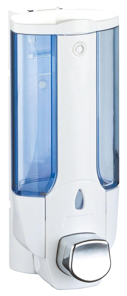 Дозатор для жидкого мыла Axentia, цвет: белый, голубой, 380 млUP210DFНастенный дозатор для жидкого мыла Axentia изготовлен из прочного пластика белого цвета с голубым прозрачным окошком. Надежен и удобен в использовании. Крепится на шурупах (в комплекте). Так же, в комплекте ключик для открытия/закрытия крышки для заполнения дозатора жидким мылом.Подходит как для домашнего, так и для профессионального использования.Высота: 19 см.