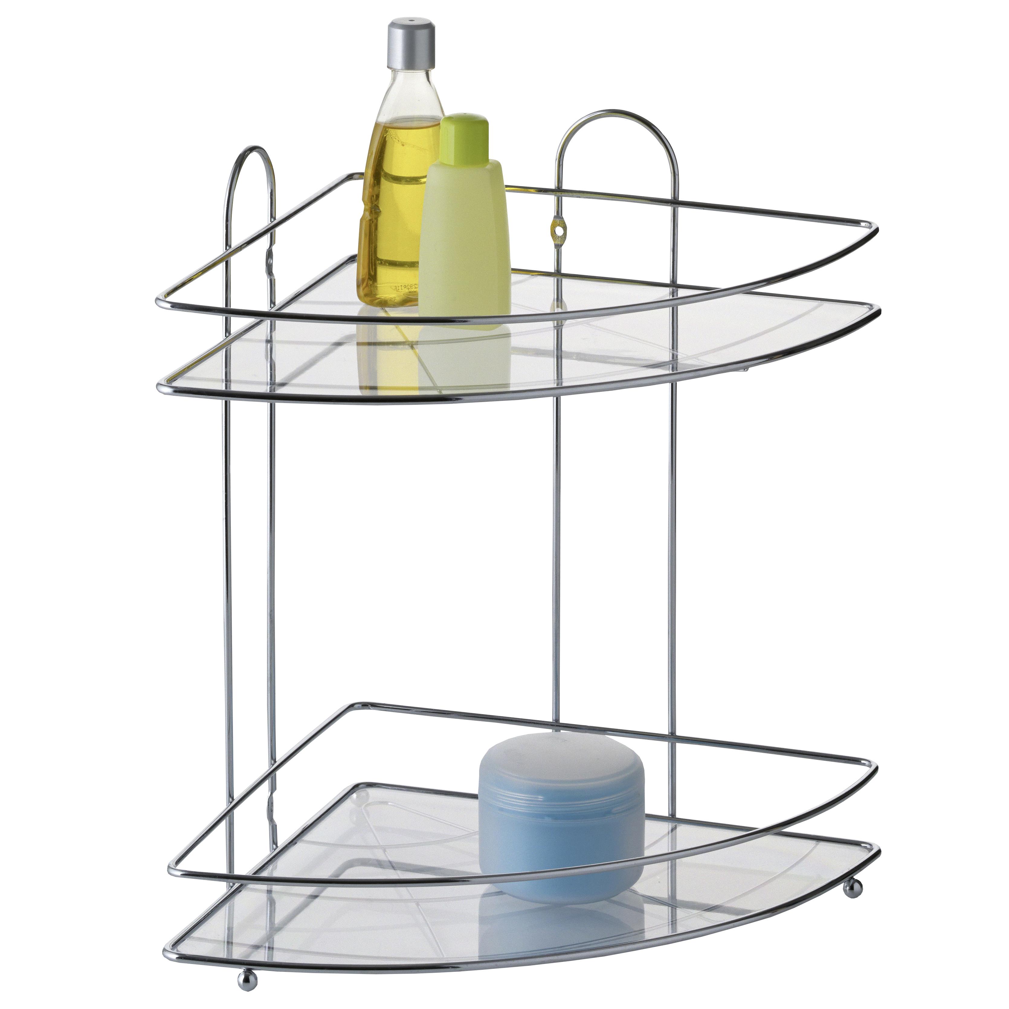 Полка для ванной Axentia, угловая, двухъярусная, 25,5 х 25,5 х 33,5 см25051 7_желтыйДвухъярусная полка для ванной Axentia изготовлена из высококачественной хромированной стали устойчивой к коррозии в условиях высокой влажности в ванной комнате. Оптимальное расстояние между ярусами позволяет разместить тюбики и флаконы большого размера. Изделие имеет угловую конструкцию и крепится на шурупах, которые идут в комплекте. Классический дизайн и оптимальная вместимость подойдет для любого интерьера ванной комнаты или кухни.