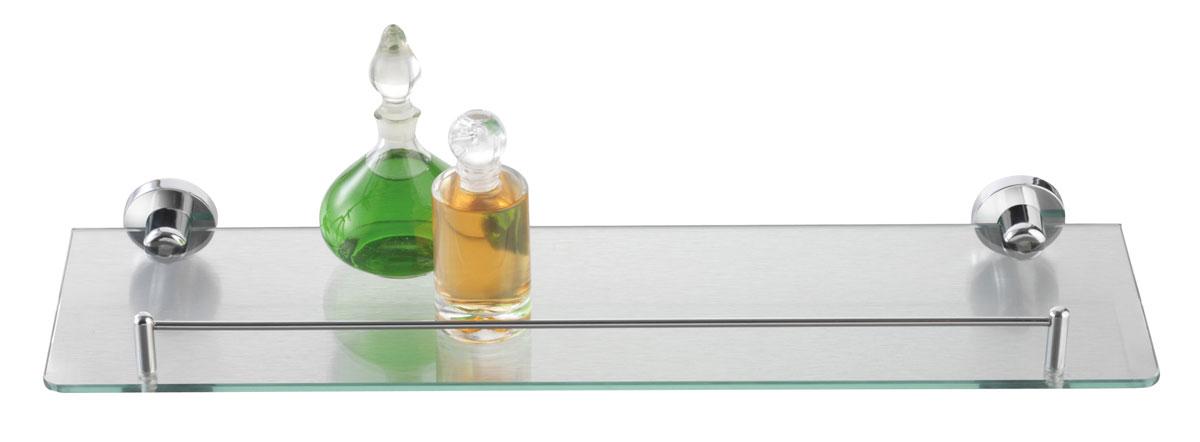 Полка для ванной Axentia, настенная, 50 х 14 см282101Навесная настенная полка для ванной Axentia изготовлена из стекла повышенной прочности и оснащена стальным бортиком. Изделие крепится на шурупах (входят в комплект). Классический дизайн и оптимальная вместимость подойдет для любого интерьера ванной комнаты.
