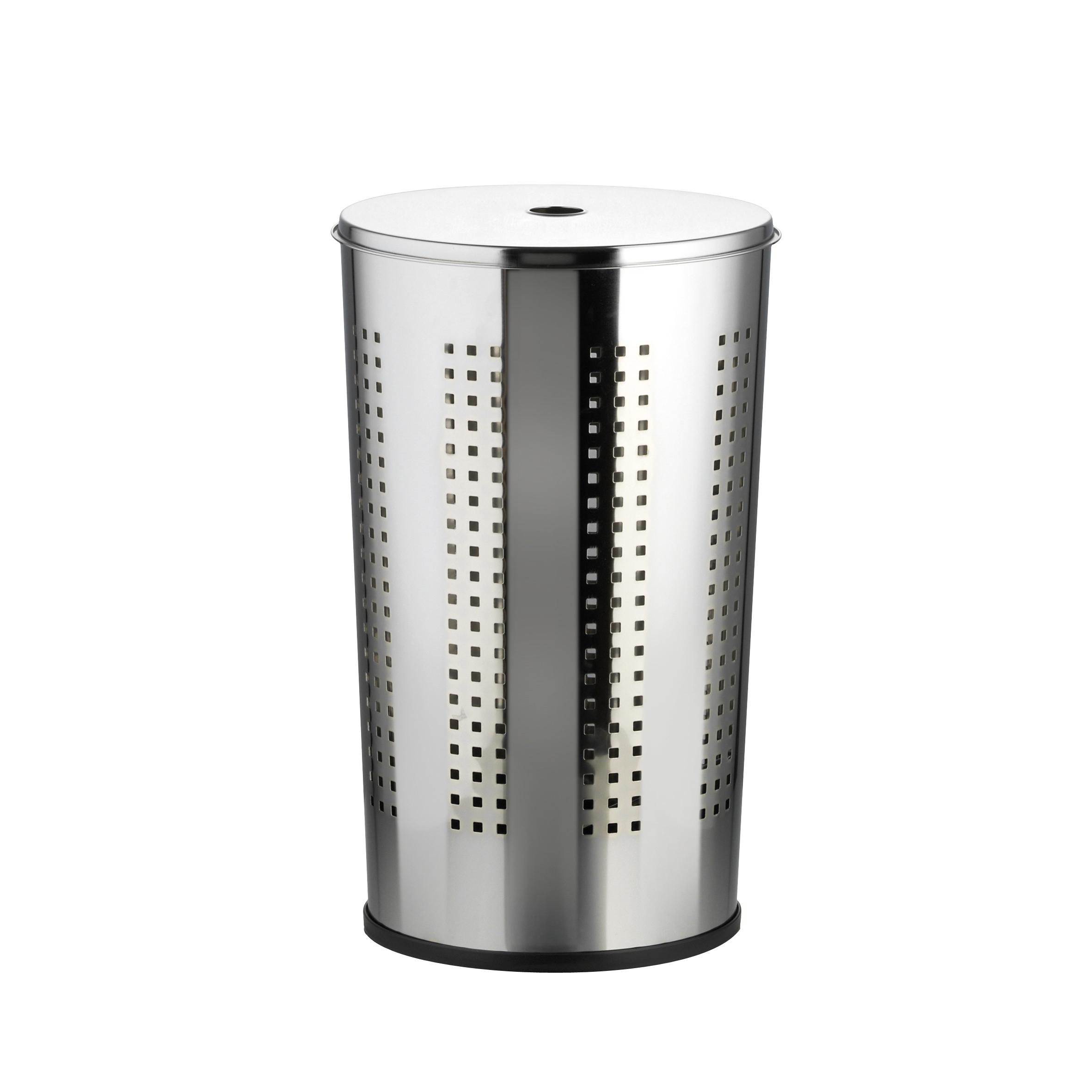 Корзина для белья Axentia, с крышкой, 50 л282780Корзина для белья Axentia изготовлена из высококачественной хромированной стали, устойчивой к коррозии в условиях высокой влажности в ванной комнате. Подойдет для семьи из 3-5 человек. Специальные отверстия по всему периметру корзины позволяют дышать и не позволят сопреть вашему белью. Изделие оснащено крышкой, которая плотно закрывается и не болтается на корзине. Пластиковая подставка создает дополнительную устойчивость, безопасность пола и бесшумность при перемещении. Современный дизайн корзины украсит любой интерьер ванной комнаты. Объем корзины: 50 литров. Размер корзины: 35 х 35 х 58 см.