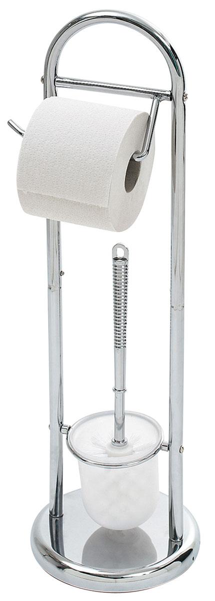 Гарнитур для туалета Top Star Kurt, с держателем для бумаги280835Гарнитур для туалета Top Star Kurt состоит из колбы с ершиком и держателя для бумаги. Основание гарнитура выполнено из утяжеленного хромированного металла, что придает устойчивость изделию. Держатель для туалетной бумаги легко поворачивается, поэтому с заменой рулона справится даже ребенок. В нижней части стойки для туалета расположена пластиковая колба с туалетным ершом с удобной ручкой. Сам ершик выполнен из высококачественного пластика и оснащен густой упругой щетиной. Такой гарнитур прекрасно впишется в интерьер вашей туалетной комнаты.