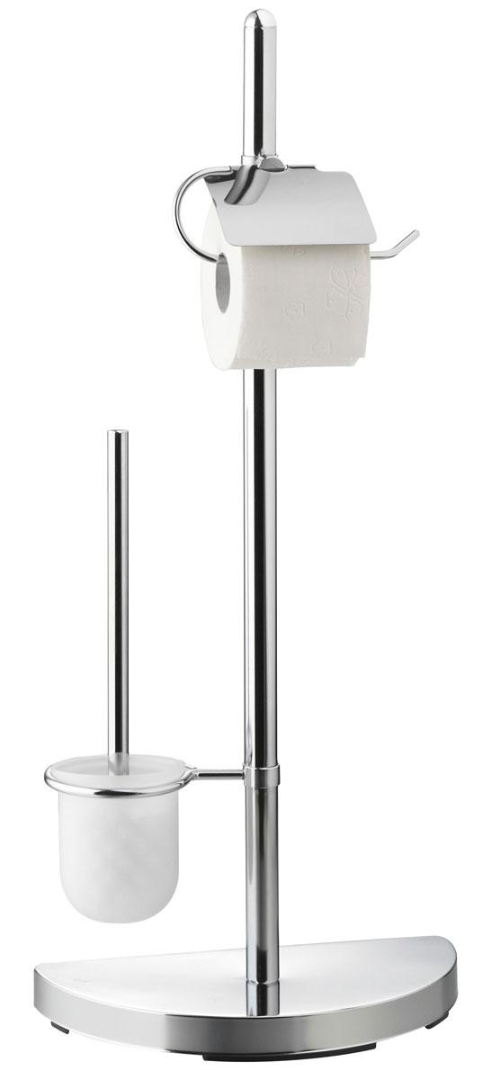 Гарнитур для туалета Axentia, с держателем для бумаги, 46 х 23 х 76 см282252Туалетный гарнитур с держателем для бумаги Axentia выполнен в стильном дизайне из высококачественной хромированной стали, устойчивой к проявлениям коррозии. Состоит из держателя туалетной бумаги с крышкой, ершика со стальной ручкой, белой щеткой с жестким густым ворсом и подставки. Для высокой устойчивости у гарнитура имеется утяжеленное основание в виде полукруга, что позволяет разместить гарнитур у стенки и сэкономить место. Высококачественные материалы, а так же прочные крепления позволят наслаждаться покупкой долгие годы. Изделие приятно дополнит интерьер вашей туалетной комнаты. Высота гарнитура: 76 см.
