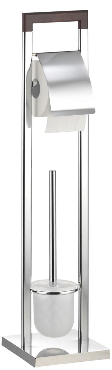 Гарнитур для туалета Axentia Nobless, с держателем для бумаги, 18 х 18 х 75 см96515412Туалетный гарнитур с держателем для бумаги Axentia Nobless выполнен в стильном дизайне из высококачественной хромированной стали, устойчивой к проявлениям коррозии и верхней планки, изготовленной из натурального дерева. Состоит из держателя туалетной бумаги с крышкой, ершика со стальной ручкой, белой щеткой с жестким густым ворсом и подставки. Для высокой устойчивости у гарнитура имеется утяжеленное квадратное основание. Высококачественные материалы, а так же прочные крепления позволят наслаждаться покупкой долгие годы. Приятно дополнит интерьер вашей туалетной комнаты. Высота гарнитура: 75 см.