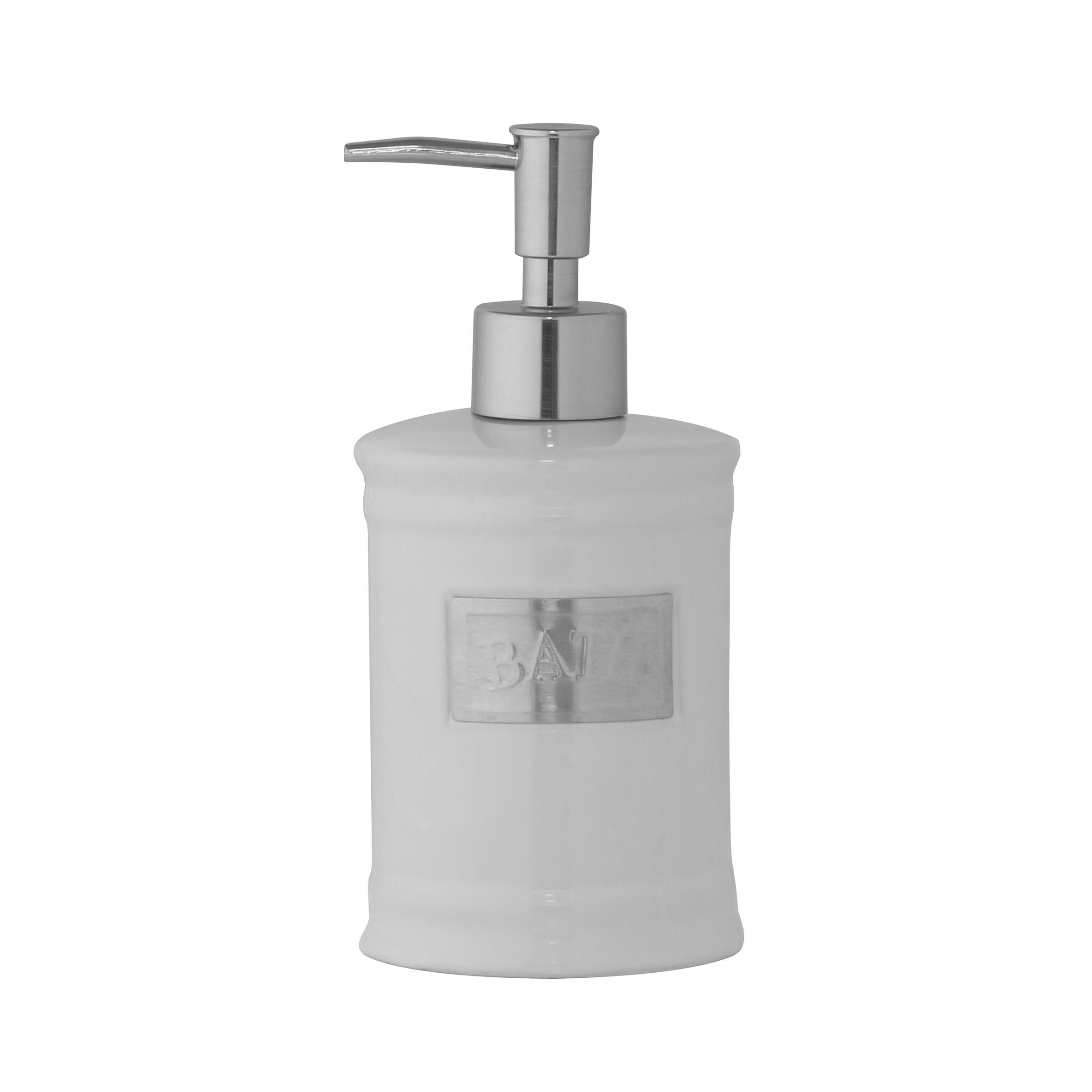 Дозатор для жидкого мыла Axentia Lyon122426Дозатор для жидкого мыла Axentia Lyon изготовлен из белоснежной керамики с элементами из нержавеющей стали в античном стиле. Изделие прекрасно дополнит интерьер вашей ванной комнаты или кухни. Высота дозатора: 18 см.