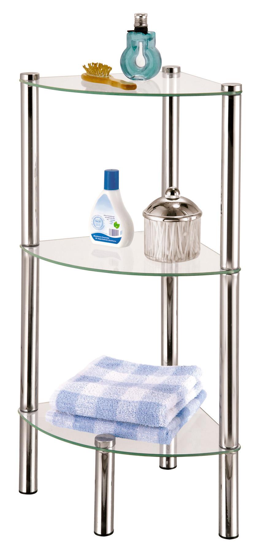 Стойка для ванной Axentia, 3-ярусная, угловая117036Стойка Axentia с 3 стеклянными полками выполнена из стали и предназначена для хранения различных предметов в ванной комнате. Очень удобная и компактная, но в тоже время вместительная, она прекрасно впишется в пространство ванной.
