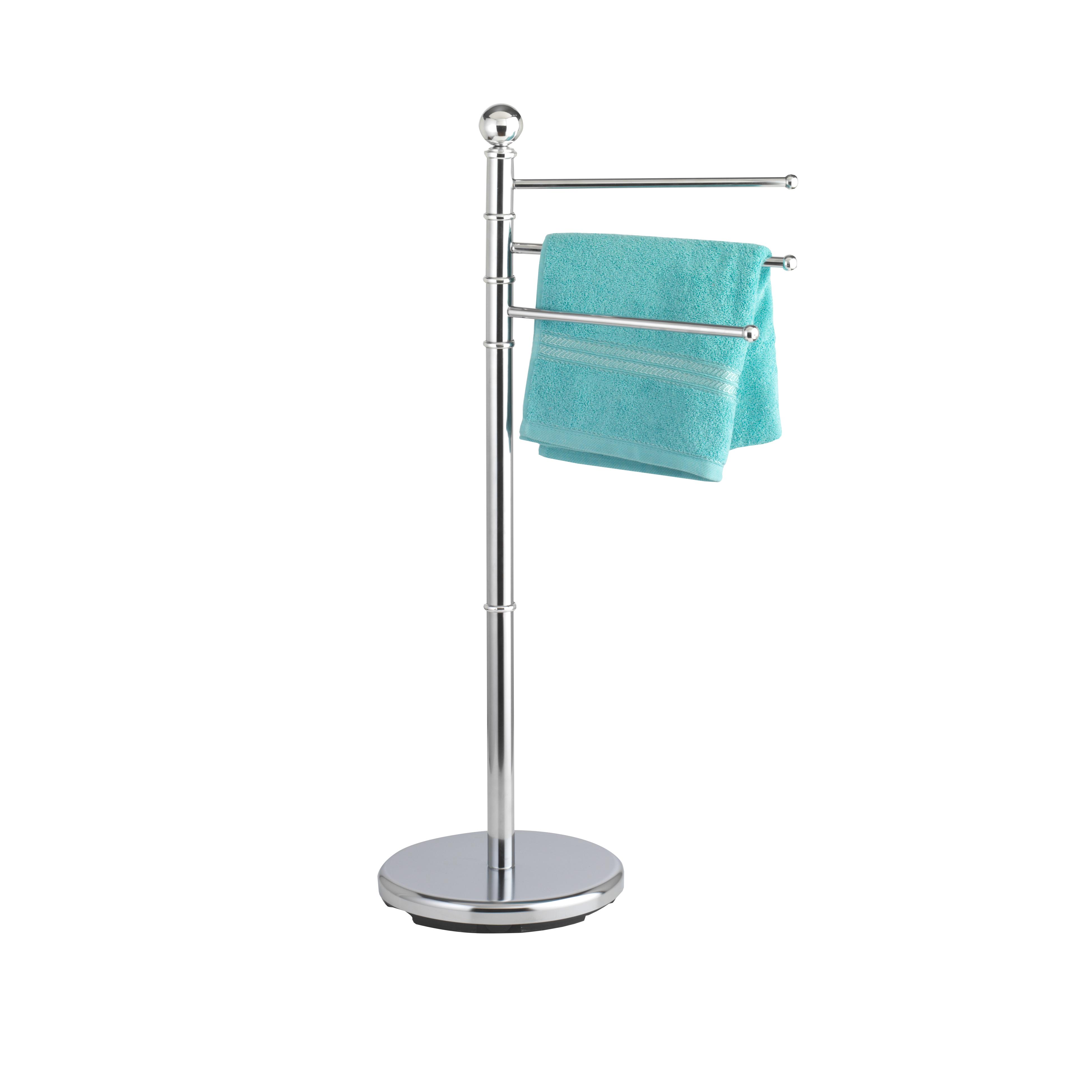 Вешалка для полотенец Axentia, напольная68/5/3Напольная вешалка в виде овала Axentia изготовлена из высококачественной хромированной стали, устойчивой к коррозии в условиях высокой влажности в ванной комнате. Вешалка оснащена 3 вращающимися планками. Изделие предназначено для подвешивания полотенец и имеет утяжеленное основание для повышенной устойчивости.Высота вешалки: 91 см.