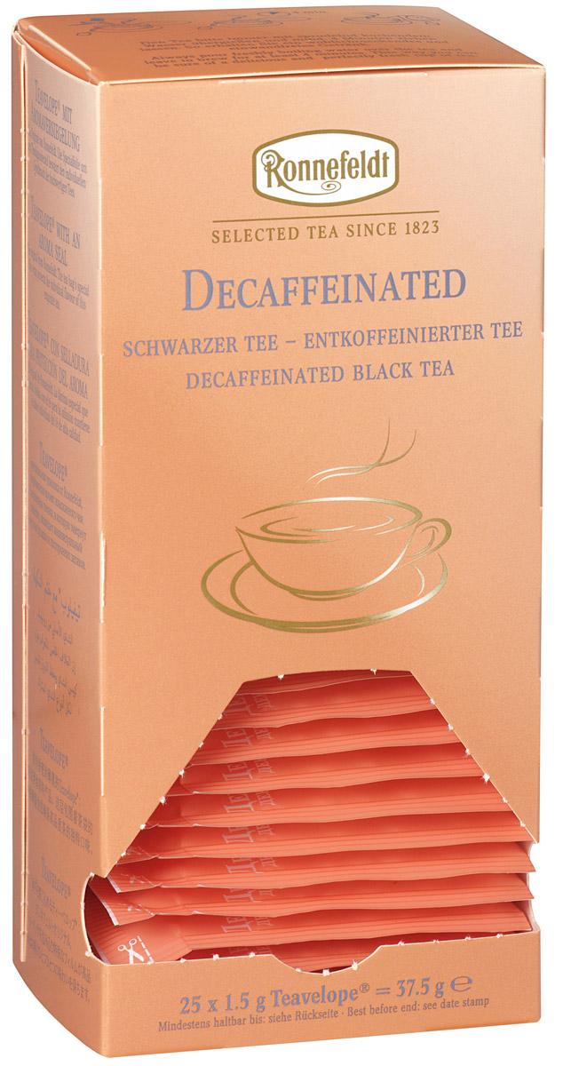 Ronnefeldt черный декофеинизированный чай в пакетиках, 25 шт0120710Это чай с пониженным содержанием кофеина, обладающий вкусом и ароматом традиционного черного чая. Чай из линии Teavelope произведен традиционным способом. Качество трав, фруктов и других ингредиентов отвечает самым высоким требованиям. А особая защитная упаковка сохраняет чай таким, каким его создала природа: ароматным, свежим и неповторимым.