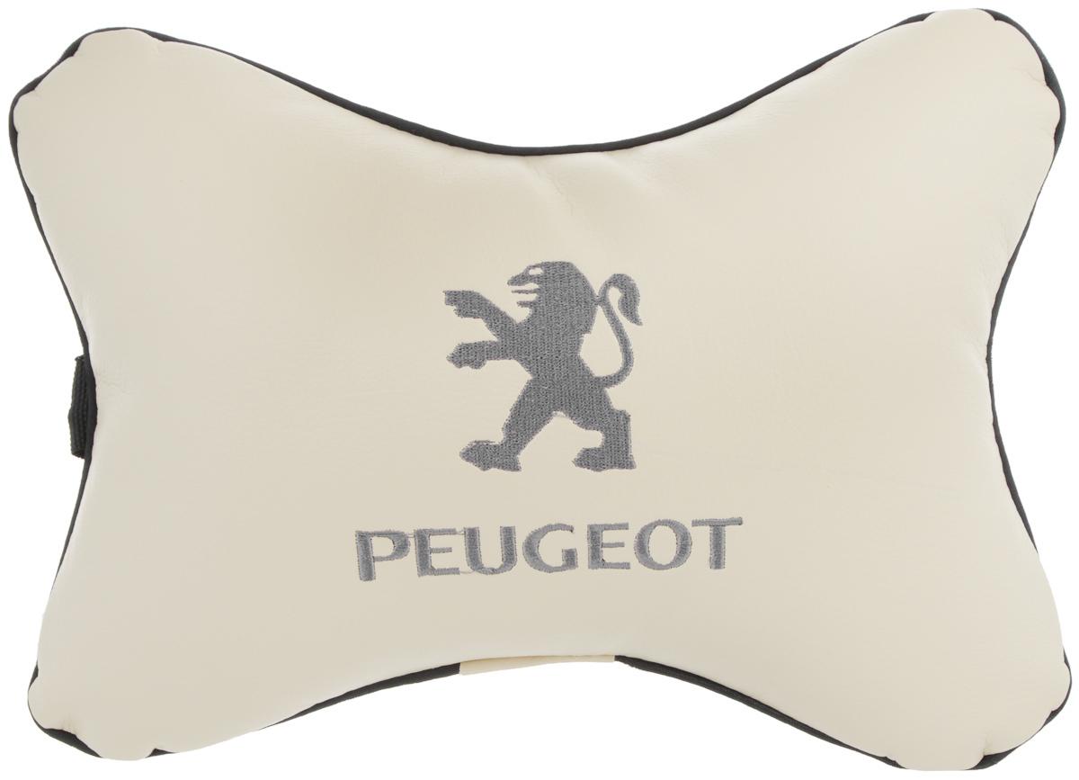 Подушка автомобильная Autoparts Peugeot, на подголовник, цвет: бежевый, серый, 30 х 20 смМ23Автомобильная подушка Autoparts Peugeot, выполненная из эко-кожи с мягким наполнителем из холлофайбера, снимает усталость с шейных мышц, обеспечивает правильное положение головы и амортизирует нагрузки на шейные позвонки при резком маневрировании. Ее можно зафиксировать на подголовнике с помощью регулируемого по длине ремня. На изделии имеется молния, с помощью которой вы с легкостью сможете поменять наполнитель. Если ваши пассажиры захотят вздремнуть, то подушка под голову окажется очень кстати и поможет расслабиться.