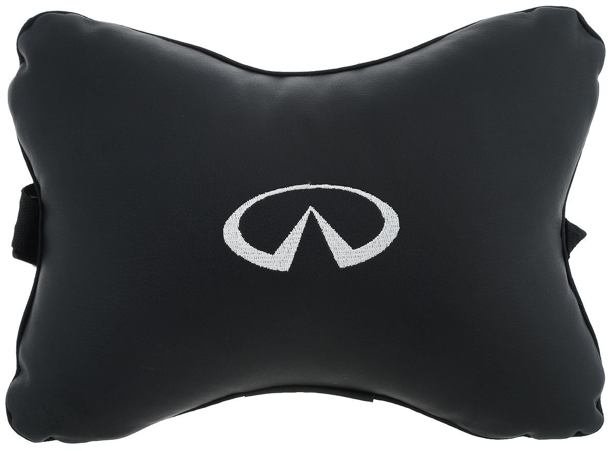 Подушка автомобильная Autoparts Infiniti, на подголовник, цвет: черный, белый, 30 х 20 смVT-1520(SR)Автомобильная подушка Autoparts Infiniti, выполненная из эко-кожи с мягким наполнителем из холлофайбера, снимает усталость с шейных мышц, обеспечивает правильное положение головы и амортизирует нагрузки на шейные позвонки при резком маневрировании. Ее можно зафиксировать на подголовнике с помощью регулируемого по длине ремня. На изделии имеется молния, с помощью которой вы с легкостью сможете поменять наполнитель. Если ваши пассажиры захотят вздремнуть, то подушка под голову окажется очень кстати и поможет расслабиться.
