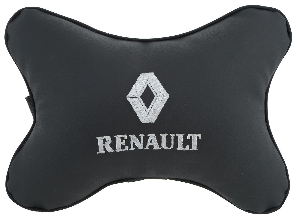 Подушка автомобильная Autoparts Renault, на подголовник, цвет: черный, белый, 30 х 20 смМ14Автомобильная подушка Autoparts Renault, выполненная из эко-кожи с мягким наполнителем из холлофайбера, снимает усталость с шейных мышц, обеспечивает правильное положение головы и амортизирует нагрузки на шейные позвонки при резком маневрировании. Ее можно зафиксировать на подголовнике с помощью регулируемого по длине ремня. На изделии имеется молния, с помощью которой вы с легкостью сможете поменять наполнитель. Если ваши пассажиры захотят вздремнуть, то подушка под голову окажется очень кстати и поможет расслабиться.