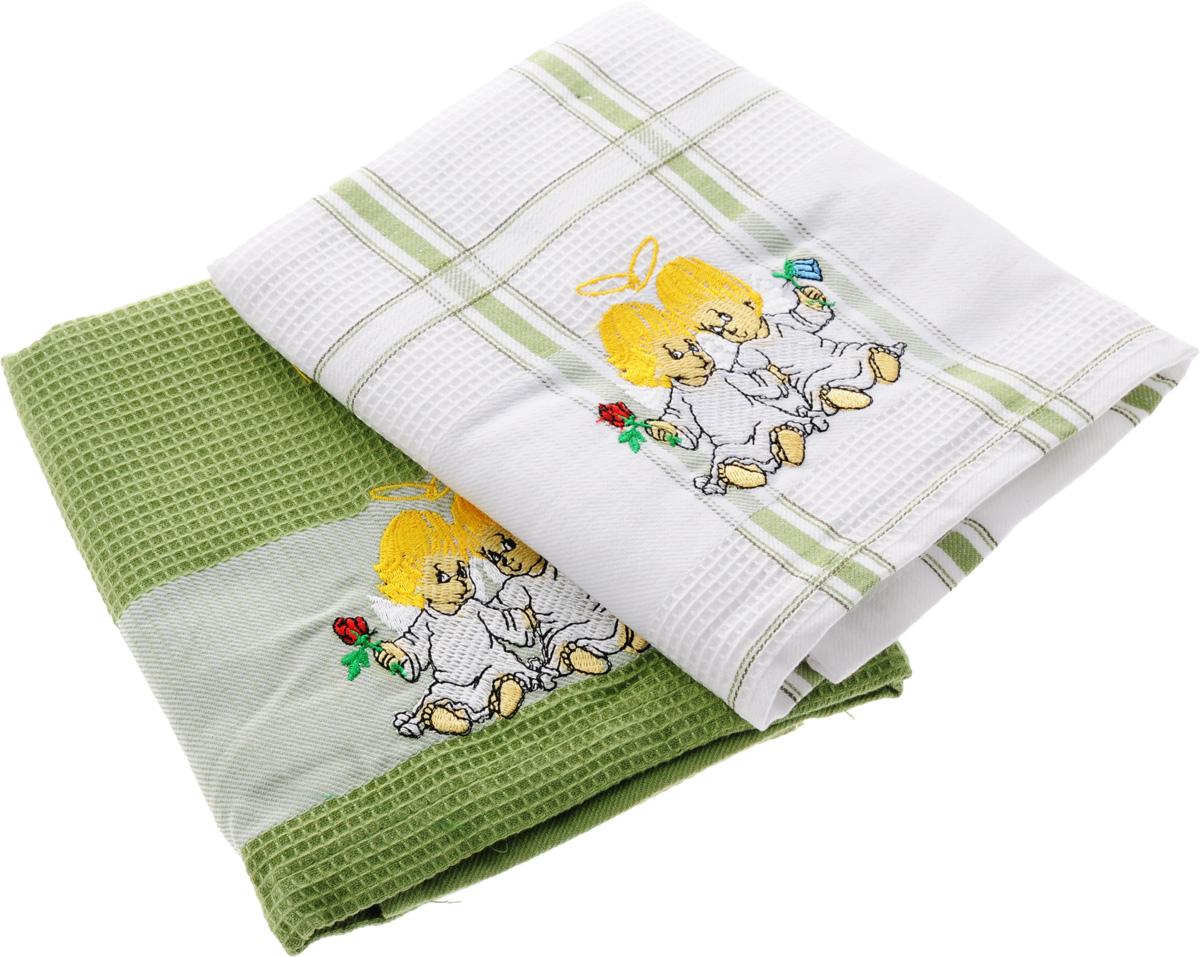 Набор кухонных полотенец Soavita Подарочное, цвет: белый, оливковый, 43 х 68 см, 2 шт. 4548845488Набор Soavita Подарочное состоит из двух полотенец, выполненных из 100% хлопка. Изделия оформлены вышитым рисунком в виде ангелочков и предназначены для использования на кухне и в столовой. Набор полотенец Soavita Подарочное - отличное приобретение для каждой хозяйки. Комплектация: 2 шт.