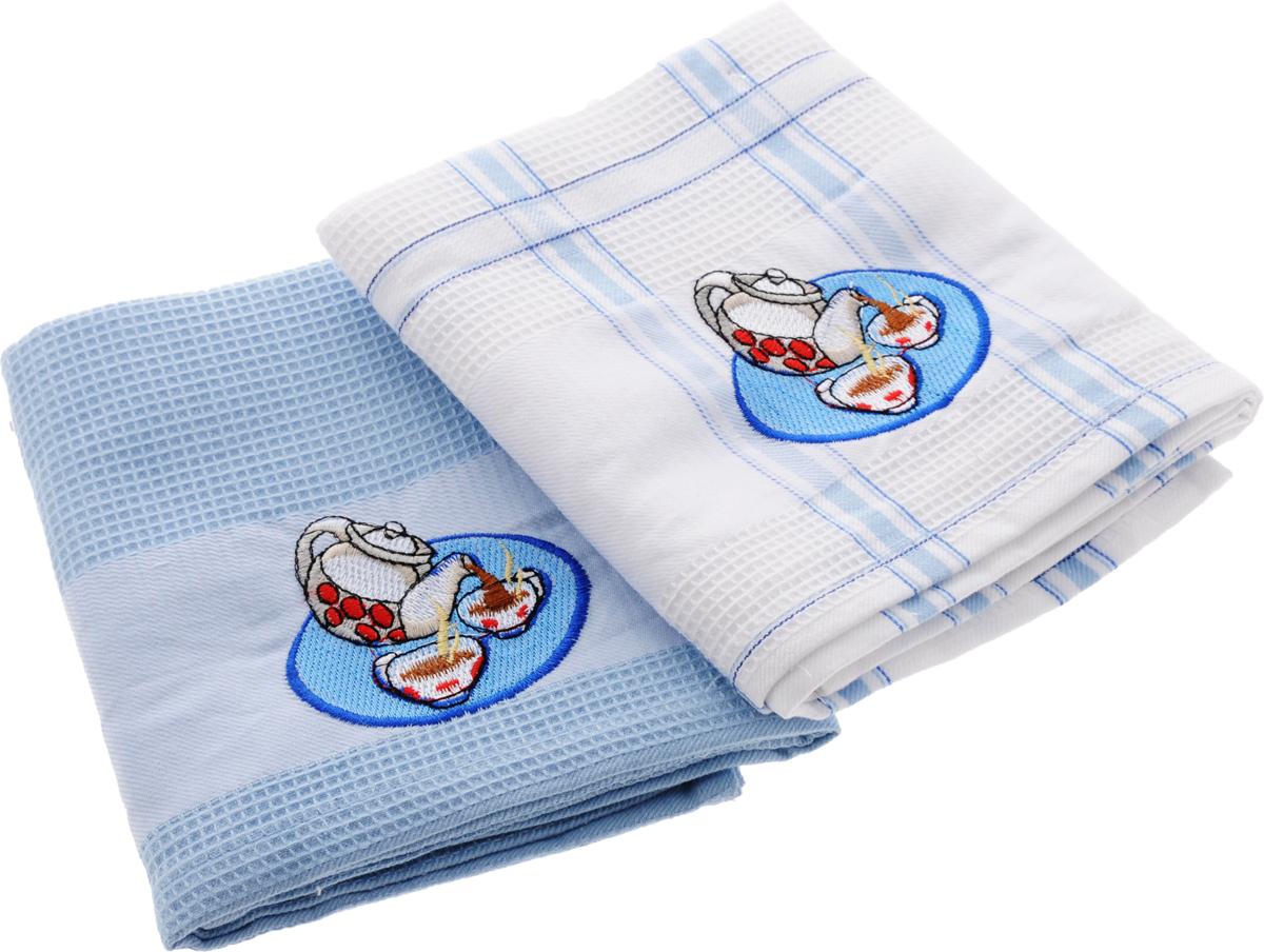Набор кухонных полотенец Soavita Дуэт, цвет: голубой, белый, 43 х 68 см, 2 штVT-1520(SR)Набор Soavita Дуэт состоит из двух полотенец, выполненных из 100% хлопка. Изделия предназначены для использования на кухне и в столовой.Набор полотенец Soavita Дуэт - отличное приобретение для каждой хозяйки.Комплектация: 2 шт.
