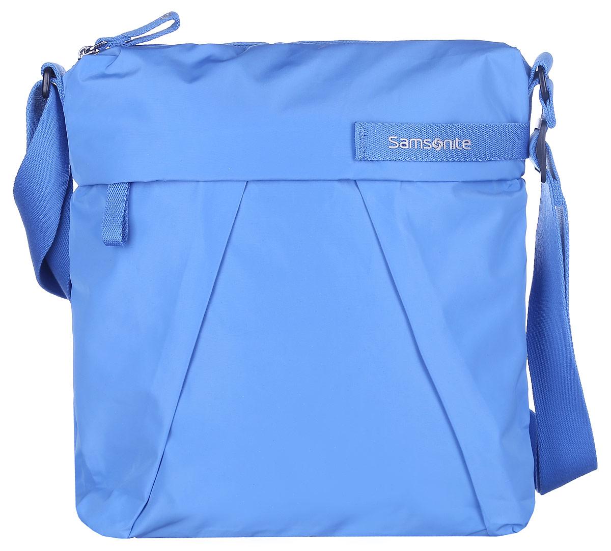Сумка женская Samsonite, цвет: голубой. 51V-5100473298с-1Стильная и практичная женская сумка Samsonite выполнена из полиэстера, оформлена декоративными складками и логотипом бренда. Изделие состоит из одного отделения и закрывается на застежку-молнию. Внутри расположен врезной карман на молнии. Снаружи, на передней стенке расположен прорезной карман на молнии, а на задней стенке - прорезной карман на липучке. Сумка оснащена несъёмным текстильным плечевым ремнем, регулируемой длины.Стильная сумка позволит вам завершить образ.