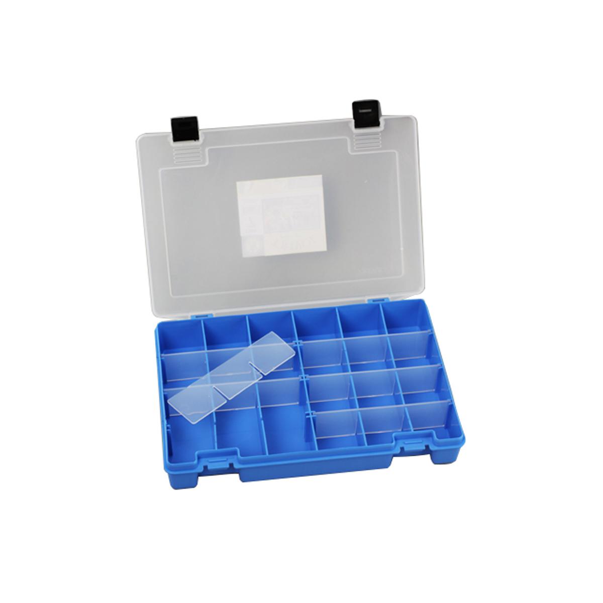 Коробка для мелочей Trivol, цвет: синий, прозрачный, 27,4 х 18,8 х 4,5 смES-412Коробка для мелочей Trivol, выполненная из прочного полипропилена (пластика), отлично подойдет для хранения канцелярских принадлежностей дома или в офисе, аксессуаров для шитья и рукоделия, болтов и гаек, а также принадлежностей для рыбалки и других видов хобби. Изделие имеет прочные съемные разделители, с помощью которых можно регулировать количество ячеек. Прозрачный материал позволяет видеть содержимое. Крышка коробки плотно закрывается на 2 защелки. Коробка легко моется и чистится. Она поможет держать ваши вещи в порядке. Размер ячейки: 4,5 х 4,5 х 4 см.