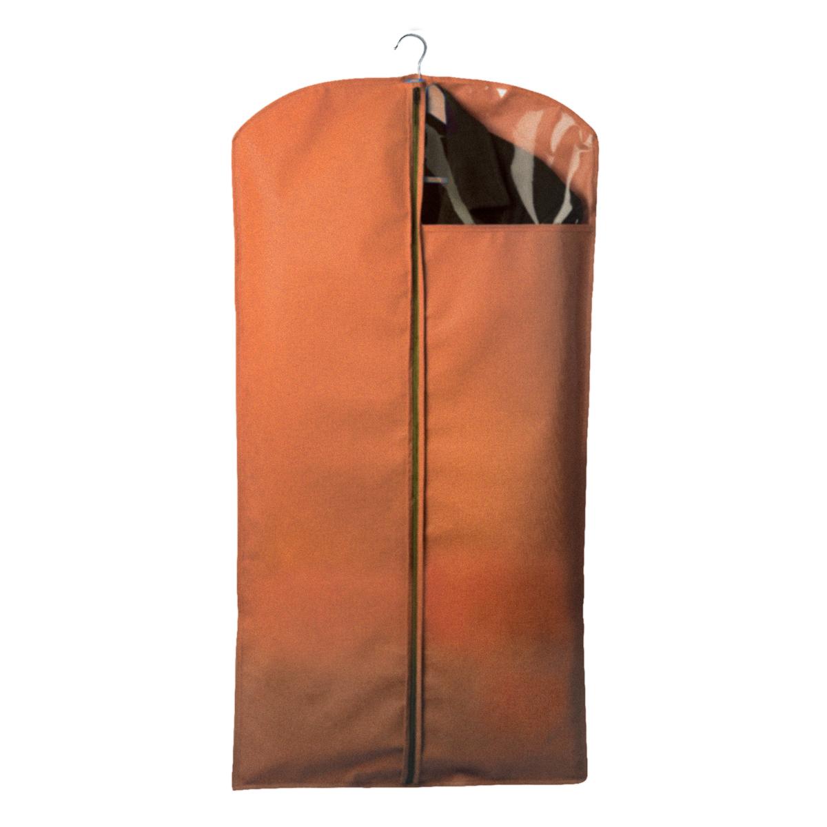 Чехол для одежды Miolla, с окошком, цвет: оранжевый, 120 х 60 смCHL-2-6Чехол для костюмов и платьев Miolla на застежке-молнии выполнен из высококачественного нетканого материала. Прозрачное полиэтиленовое окошко позволяет видеть содержимое чехла. Подходит для длительного хранения вещей. Чехол обеспечивает вашей одежде надежную защиту от влажности, повреждений и грязи при транспортировке, от запыления при хранении и проникновения моли. Чехол обладает водоотталкивающими свойствами, а также позволяет воздуху свободно поступать внутрь вещей, обеспечивая их кондиционирование. Размер чехла: 120 х 60 см.