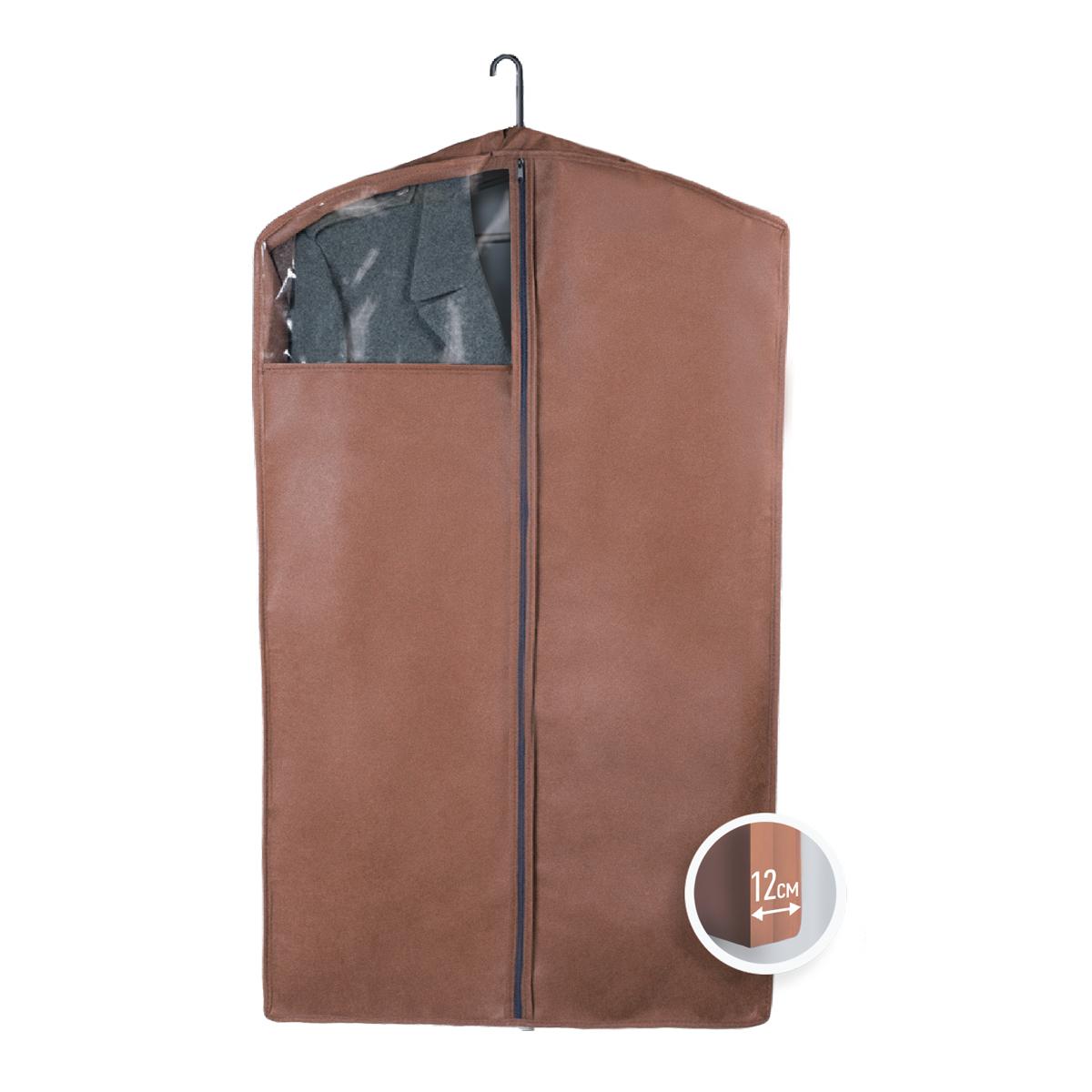 Чехол для верхней одежды Miolla, с окошком, цвет: коричневый, 100 х 60 х 12 смCHL-3-3Чехол для верхней одежды Miolla на застежке-молнии выполнен из высококачественного нетканого материала. Прозрачное полиэтиленовое окошко позволяет видеть содержимое чехла. Подходит для длительного хранения вещей. Чехол обеспечивает вашей одежде надежную защиту от влажности, повреждений и грязи при транспортировке, от запыления при хранении и проникновения моли. Чехол обладает водоотталкивающими свойствами, а также позволяет воздуху свободно поступать внутрь вещей, обеспечивая их кондиционирование. Это особенно важно при хранении кожаных и меховых изделий. Размер чехла: 100 х 60 х 12 см.
