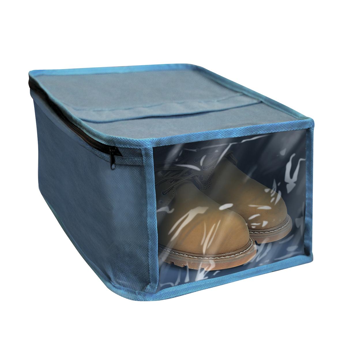 Чехол для хранения обуви Miolla, с окошком, цвет: синий, 30 х 25 х 15 смCHL-9-1Чехол для хранения обуви Miolla на застежке-молнии выполнен из высококачественного нетканого материала. Прозрачное полиэтиленовое окошко позволяет видеть содержимое чехла. Подходит для длительного хранения вещей. Чехол обеспечивает вашей обуви надежную защиту от влажности, повреждений и грязи при транспортировке, от запыления при хранении и проникновения моли. Чехол обладает водоотталкивающими свойствами, а также позволяет воздуху свободно поступать внутрь вещей, обеспечивая их кондиционирование. Размер чехла: 30 х 25 х 15 см.