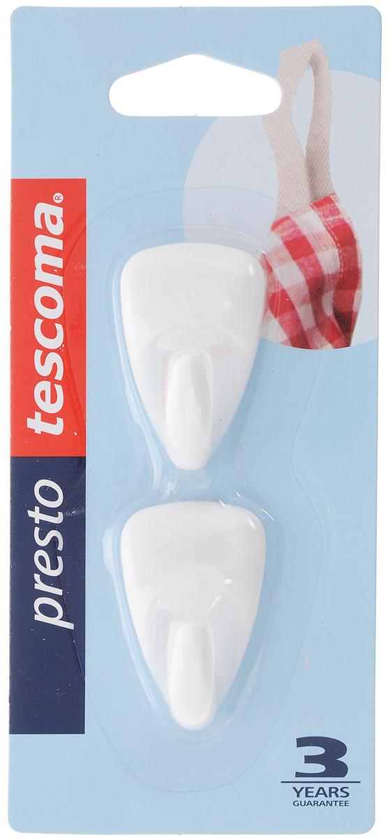 Крючок Tescoma Presto, самоклеящийся, 2 шт10503Крючки Tescoma Presto, выполненные из пластика, предназначены для постоянного размещения на стене. Изделия отлично подойдут для подвешивания кухонных принадлежностей: полотенец, рукавиц, прихваток и других мелких предметов.Самоклеящиеся крючки легко прикреплять и удобно использовать, после снятия не оставляют следов на поверхности.Комплектация: 2 шт.Размер крючка: 4 х 2,5 см.