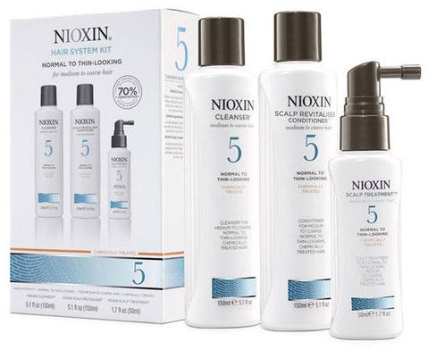 Nioxin System Набор (Система 5) 5 Kit 150 мл+150 мл+40 мл81274208В набор Nioxin System 5 Kit входят: Шампунь Очищение 150 мл - придающий объём очиститель Кондиционер Увлажнение 150 мл - придающий объём кондиционер Маска Питание 50 мл - придающая объём и питающая волосы маска