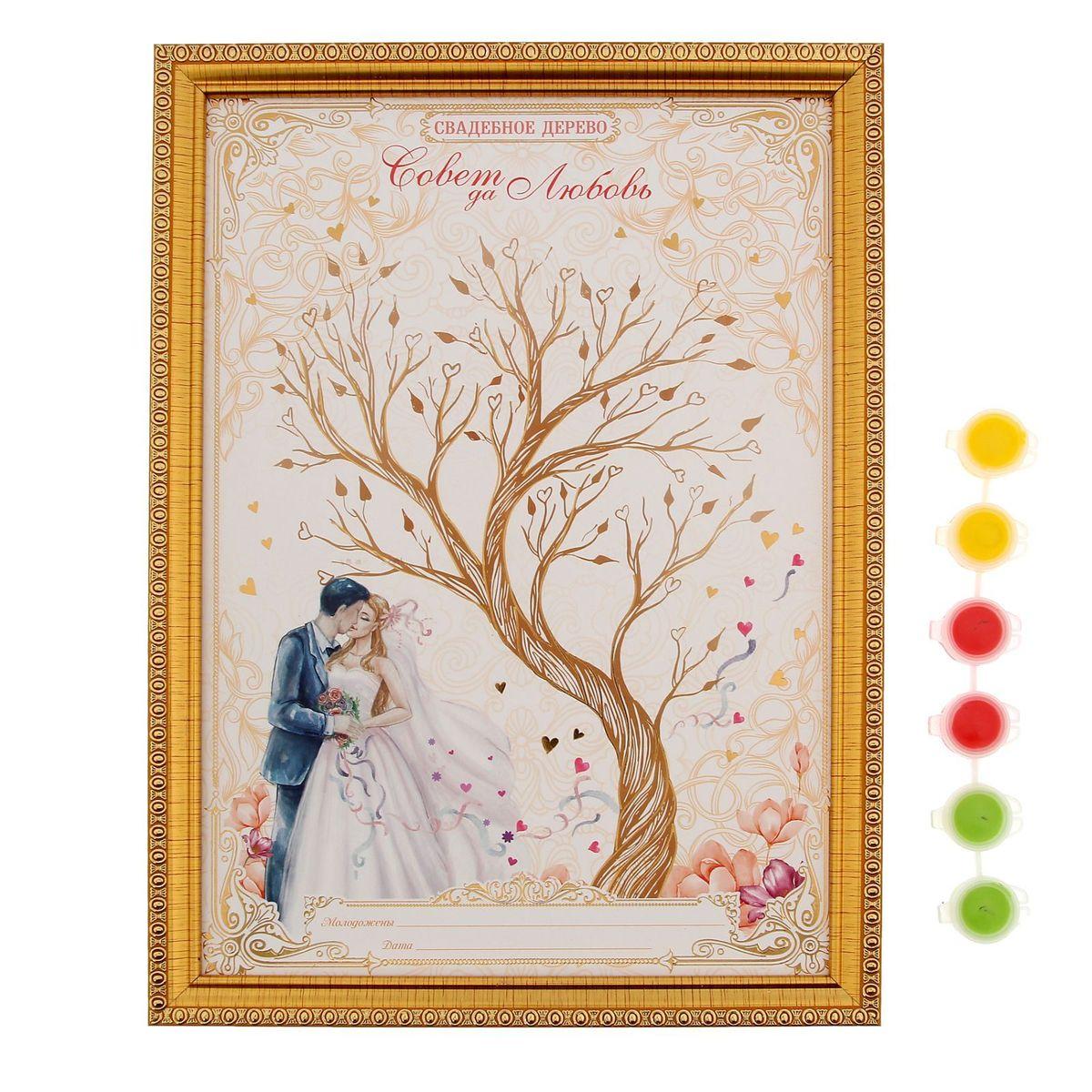 Дерево свадебных пожеланий в рамке Sima-land Жених и невеста, 32 x 23,2 x 1,5 см1221279Свадебное дерево пожеланий в рамке Жених и невеста — оригинальный способ собрать самые тёплые пожелания молодожёнам в одном месте! Процесс создания такого дерева захватывает и увлекает, ведь каждый листик — это отпечаток пальца. Во время торжества все гости смогут оставить памятный принт и написать искренние слова. Краски уже есть в комплекте. После они легко смоются с рук гостей. Специальная петля и ножка с обратной стороны позволяют повесить дерево пожеланий на стену, либо поставить его на стол или полку. Сувенир преподносится в подарочной коробочке. Сохраните приятные воспоминания о самом незабываемом дне!