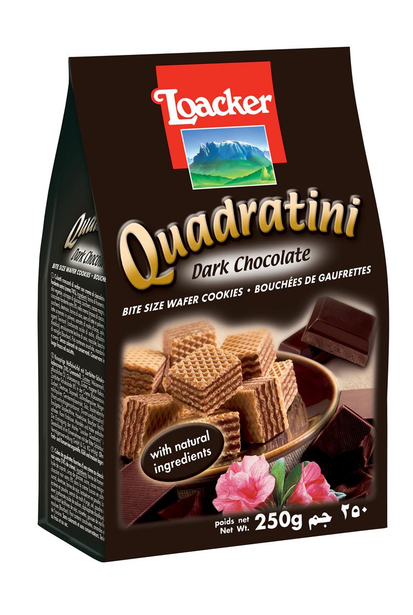 Loacker Квадратини вафли темный шоколад, 250 г0120710Нежные и восхитительные вафли Loacker изготовлены по лучшим рецептам только из натуральных ингредиентов. Они тают во рту благодаря воздушной вафельной основе и большому содержанию кремовой начинки (74%). Это вафли в щедрой упаковке по 250 г, в которой, как минимум, 65 порционных вафель-кубиков; или по 220 г (55 восхитительных кубиков). Упаковка снабжена защитной полосой, чтобы ваши вафли всегда оставались свежими и хрустящими.