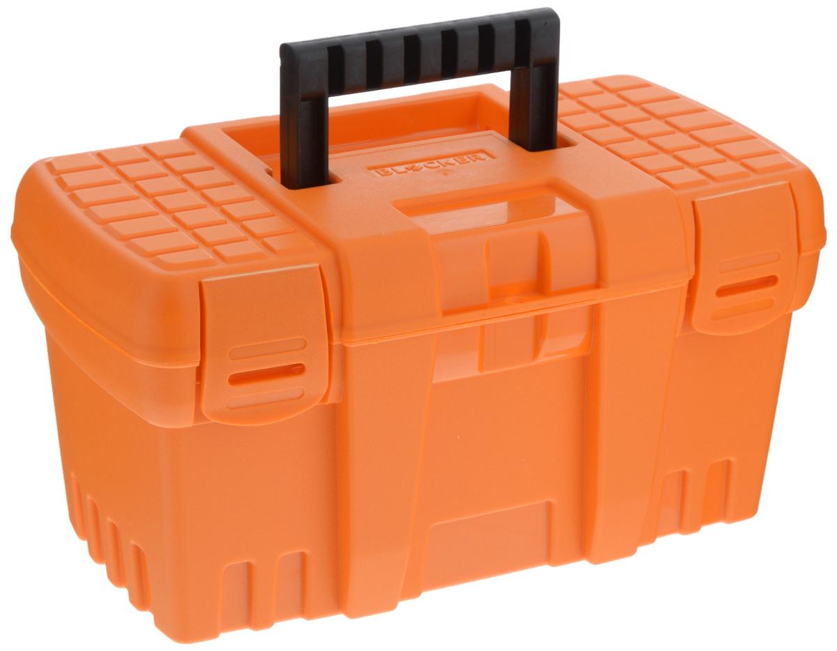 Ящик для инструментов Blocker Techniker, цвет: оранжевый, черный, 26,5 х 15,5 х 14 смBR3746ОР-16PSЯщик Blocker Techniker изготовлен из прочного пластика и предназначен для хранения и переноски инструментов. Вместительный, внутри имеет большое главное отделение. Закрывается при помощи крепких защелок, которые не допускают случайного открывания. Для более комфортного переноса в руках на крышке ящика предусмотрена удобная ручка.