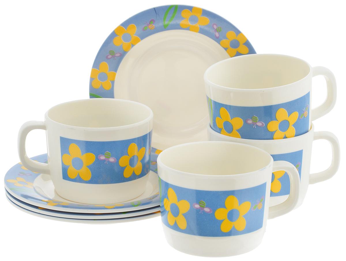 Набор чайный Calve Цветы, 8 предметов115510Чайный набор Calve Цветы состоит из 4 чашек и 4 блюдец, выполненных из высококачественного пластика. Изделия оформлены цветочным рисунком. Изящный набор эффектно украсит стол к чаепитию и порадует вас функциональностью и ярким дизайном. Можно мыть в посудомоечной машине.Диаметр блюдца: 14,5 см. Объем чашки: 240 мл. Диаметр чашки (по верхнему краю): 8 см. Высота чашки: 6,4 см.