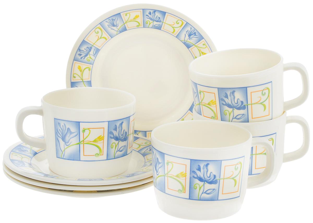 Набор чайный Calve, 8 предметов. CL-2508CL-2508_синие цветы в квадратахЧайный набор Calve состоит из 4 чашек и 4 блюдец, выполненных из высококачественного пластика. Изделия оформлены цветочным рисунком. Изящный набор эффектно украсит стол к чаепитию и порадует вас функциональностью и ярким дизайном. Можно мыть в посудомоечной машине. Диаметр блюдца: 14,5 см. Объем чашки: 240 мл. Диаметр чашки (по верхнему краю): 8 см. Высота чашки: 6,4 см.