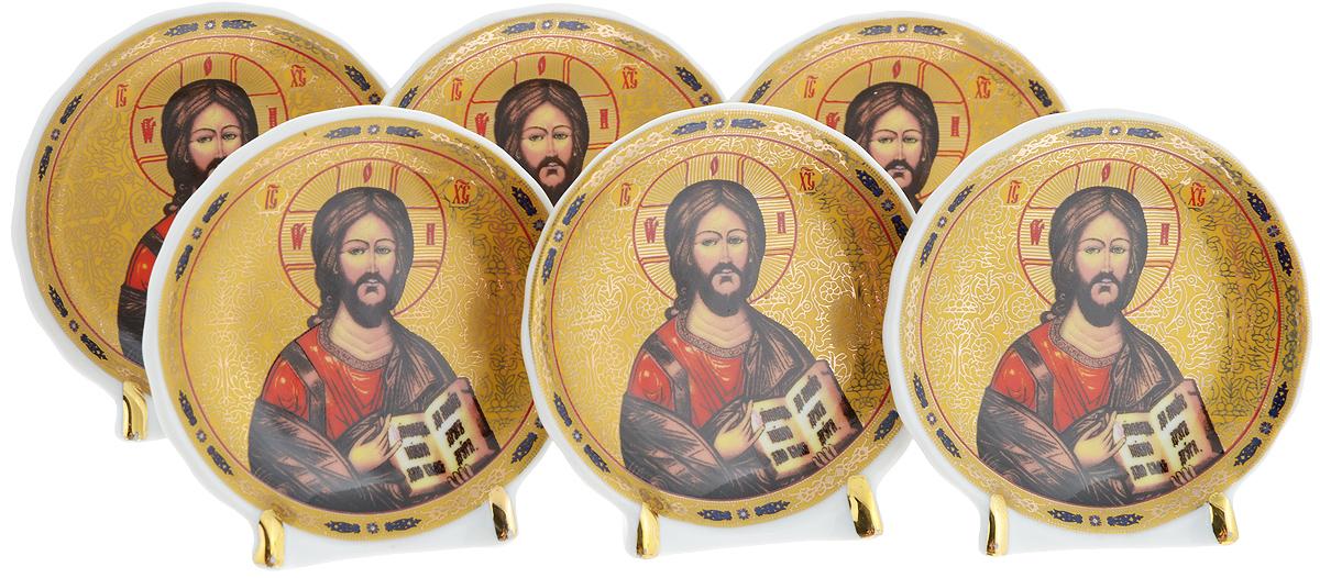 Набор декоративных тарелок Elan Gallery Иисус Христос, на подставках, диаметр 7,5 см, 6 шт503297Набор из шести декоративных тарелок Elan Gallery Иисус Христос украсит практически любое ваше помещение, будь то кухня, столовая, гостиная или холл. Набор станет необыкновенным подарком для верующих людей и оригинальным украшением на Пасху. Тарелки выполнены из фарфора и оснащены подставкой, благодаря которой сувенир будет прочно стоять на поверхности. Оригинальный набор декоративных тарелок Elan Gallery Иисус Христос станет замечательным подарком друзьям и близким людям. Диаметр тарелки: 7,5 см.