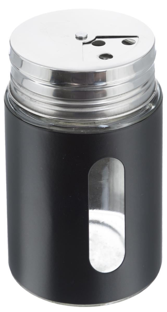 Емкость для специй Zeller, цвет: прозрачный, черный, 400 мл19799Емкость Zeller выполнена из антикоррозийной стали и стекла и предназначена для разнообразных специй. Изделие оснащено удобной плотно закрывающийся крышкой с отверстиями разной величины для высыпания. Поворотный механизм позволяет выбрать отверстия по диаметру. Емкость имеет прозрачное окошко, поэтому вы всегда можете видеть, что и в каком количестве содержится в банке. Благодаря антистатической поверхности содержимое контейнера не прилипает к стеклянному окошку. Такая функциональная и вместительная емкость станет незаменимым аксессуаром на любой кухне. Диаметр по верхнему краю: 6 см. Высота (без учета крышки): 10,5 см.