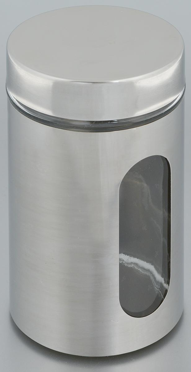 Банка для хранения Zeller, 750 мл. 1994619946Банка Zeller, выполненная из антикоррозийной стали и прочного стекла, снабжена крышкой, которая плотно и герметично закрывается, дольше сохраняя аромат и свежесть содержимого. Изделие подходит для хранения сыпучих продуктов: круп, чая, специй, орехов, сахара и многого другого. Банка имеет прозрачное окошко. Благодаря антистатической поверхности продукты не прилипают к стеклянному окошку, поэтому вы всегда можете видеть, что и в каком количестве содержится внутри. Такая функциональная и вместительная банка станет незаменимым аксессуаром на любой кухне. Диаметр банки (по верхнему краю): 9 см. Высота банки (без учета крышки): 17,5 см.
