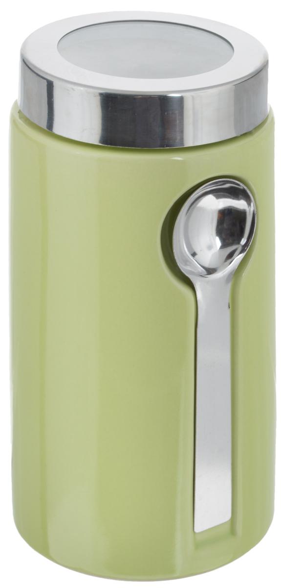 Банка для сыпучих продуктов Zeller, с ложкой, цвет: светло-зеленый, 900 мл19800Банка Zeller изготовлена из высококачественной керамики. Емкость снабжена крышкой из пластика и металла, которая плотно закрывается, дольше сохраняя аромат и свежесть содержимого. Изделие оснащено металлической ложкой, которая крепится к банке с помощью магнитов. Банка подходит для хранения сыпучих продуктов: круп, специй, сахара, соли. Она станет полезным приобретением и пригодится на любой кухне. Диаметр по верхнему краю: 9 см. Высота (с учетом крышки): 19 см. Длина ложки: 14 см.