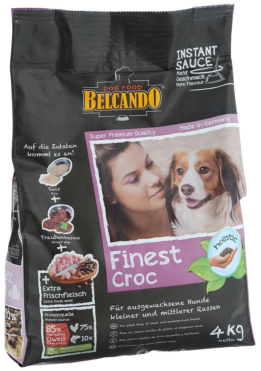 Корм сухой Belcando Finest Croc, для привередливых собак мелких и средних пород, с уткой и печенью, 4 кг. 6103161031_птица, рыбаСпециально отобранное сырьё, вкусная утка и печень делают Belcando Finest Croc кормом номер один для гурманов среди взрослых собак. Большое количество легкоусвояемого риса и ценной муки из виноградных косточек делают этот корм не только вкусным, но и полезным. Высокая доля протеинов и жиров способствует пищеварению и уменьшает количество экскрементов. Товар сертифицирован.