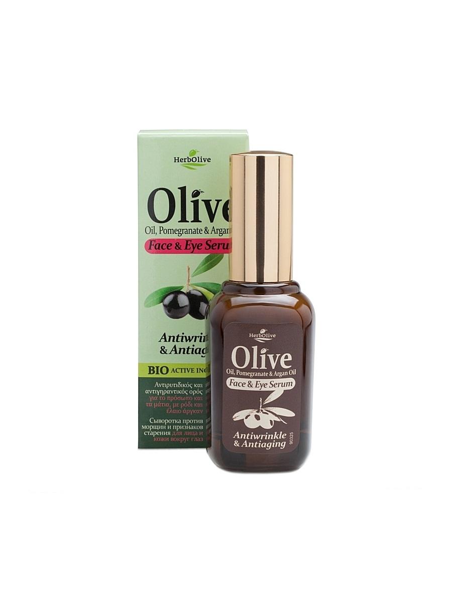 HerbOlive Сыворотка против морщин и признаков старения для лица и кожи вокруг глаз 30 мл5200310405020Сыворотка с легкой консистенцией, прекрасно впитывается, идеальна для всех типов кожи. Рекомендуется с 25 лет. Активные ингредиенты: масло оливы, арганы увлажняет, питает, наполняет кожу витаминами. Экстракт граната - мощный антиоксидант, призван предотвращать появление морщин. Витаминизирует, содержит микроэлементы, придает коже эластичность, сужает поры и себорегулирует, восстанавливает липидный барьер кожи, убирает шелушения и раздражения. Алоэ, розмарин, морская спаржа –не дает коже пересыхать, дизенфицирует, выравнивает тон кожи. Косметика произведена в Греции на основе органического сырья, НЕ СОДЕРЖИТ минеральные масла, вазелин, пропиленгликоль, парабены, генетически модифицированные продукты (ГМО)