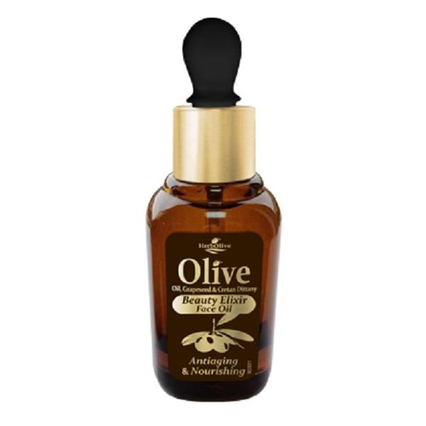 HerbOlive Питательное масло - эликсир красоты для лица против старения, 30 млБ33041_шампунь-барбарис и липа, скраб -черная смородинаПитательное масло эликсир против старения кожи лица с маслом косточек винограда, розмарином и критской душицей. Эти компоненты в сочетании с маслом оливы и маслом подсолнечника являются натуральными антиоксидантами и отличаются богатым содержанием питательных элементов и витаминов.Рекомендуется для сухой и нормальной кожи с 30 лет.Косметика произведена в Греции на основе органического сырья, НЕ СОДЕРЖИТ минеральные масла, вазелин, пропиленгликоль, парабены, генетически модифицированные продукты (ГМО)
